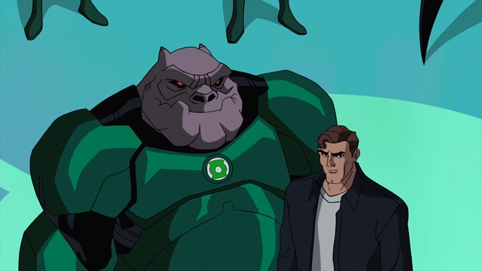 Hal Jordan and Kilowog listen to a mandate from the Guardians in a key scene from the next DC Universe animated original movie, Green Lantern: First Flight, which is set for distribution July 28, 2009 by Warner Home Video. Michael Madsen and Christopher Meloni provide the voices of Kilowog and Hal Jordan, respectively.