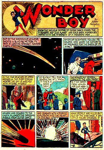 La première page de l'histoire... et l'arrivée de Wonder Boy sur Terre.