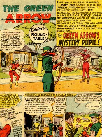 Green Arrow face au Crimson Archer dans la page d'ouverture tirée d'un reprint paru dans World's Finest 154