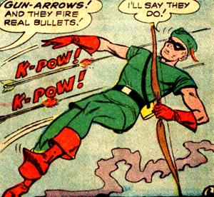 Une arme du Crimson Archer que Green Arrow n'a pas : les flèches-pistolets, qui tirent des balles..