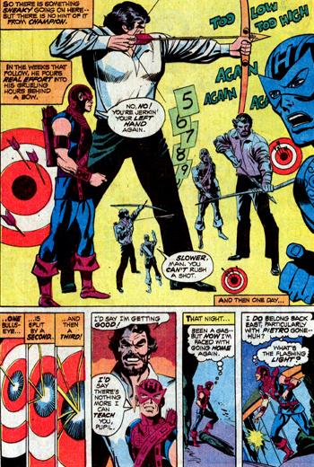 Quelques années plus tard, dans Avengers #109, une leçon de tir-à-l'arc très familière, donnée là aussi pour un million...
