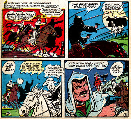 Avec des balles à blanc, forcément le Ghost Rider à l'air d'être un vrai revenant, qu'on ne peut tuer...