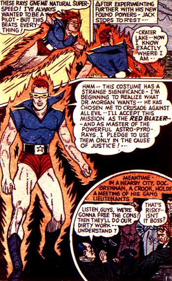 Il est fort, le Red Blazer : il comprend la mission que souhaite lui donner le Dr. Morgan à partir... de son costume...