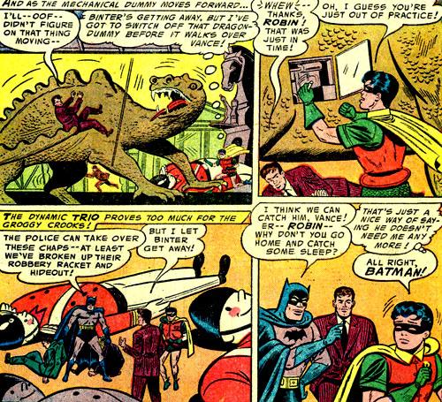 """John Vance est mis en difficulté par un automate-dragon. Robin en déduit qu'il est un peu """"rouillé""""..."""