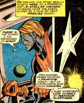 Le Mechanoid à bord de son vaisseau en forme d'étoile...