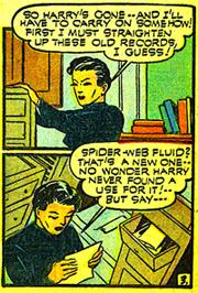 """Sharon Kane découvre un formule de """"spider-fluid"""" qu'elle trouve ridicule dans un premier temps..."""