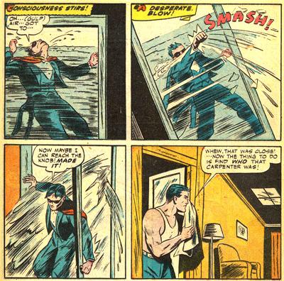 Mourir dans une douche ? Jamais ! Ce serait la honte pour un super-héros !
