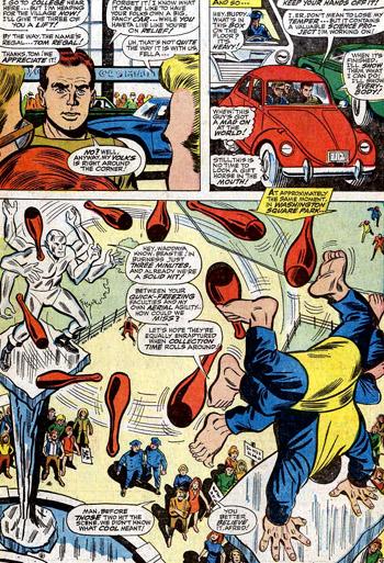 Tom Regal se propose de véhiculer les héros. Et le Fauve et Iceman font le show...