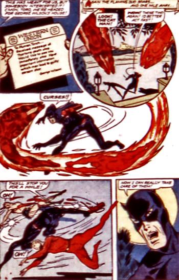 Catman arrive à neutraliser les héros...