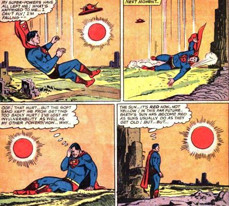Sous un soleil rouge, Superman perd ses pouvoirs...