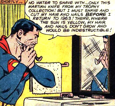 Avant de rentrer Superman doit impérativement... se raser !