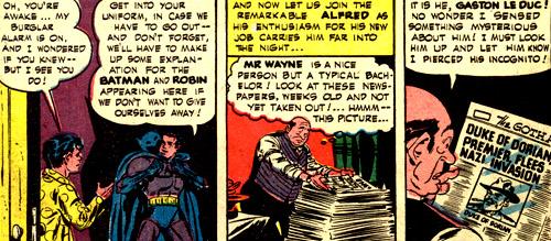 Alfred tombe sur de vieux journaux