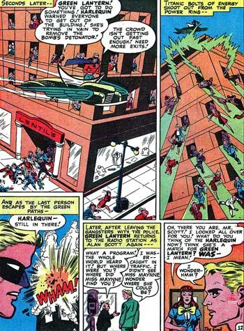 Green Lantern sauve les gens et Harlequin semble se sacrifier...