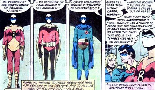 Le choix entre trois costumes inventé par des fans réels...