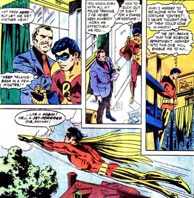 Robin s'envole dans son costume rouge...
