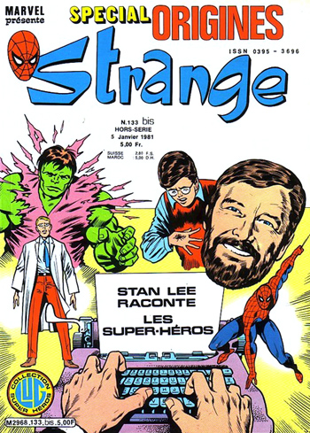 Stan Lee sur la couverture de Strange Special Origines