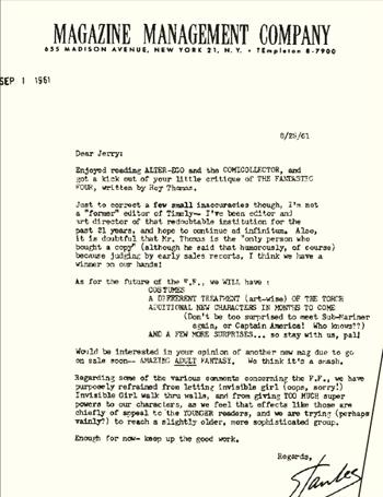Lettre adressée à Jerry Bails en 1961, où Stan Lee évoque déjà le retour de Captain America alors qu'il n'édite qu'une série de super-héros, les Fantastic Four.