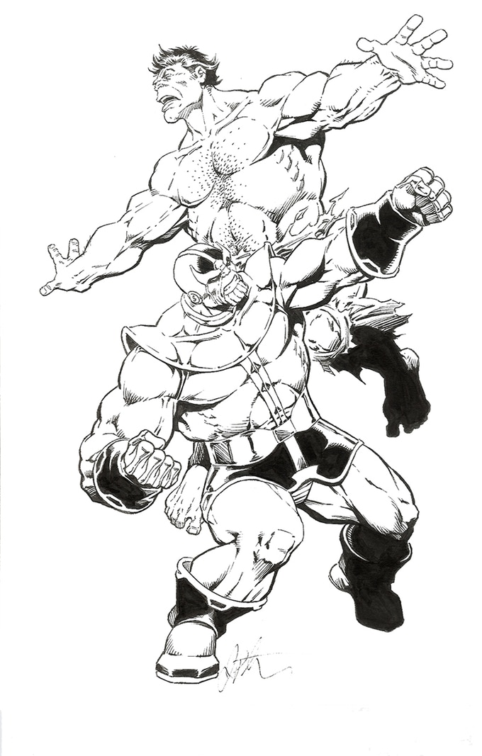 "JIM STARLIN ORIGINAL ART REWARD Here is your opportunity to own a truly unique piece of original artwork by Jim Starlin. The 13""-by-18"" pencil-and-ink piece depicts Thanos battling the Incredible Hulk (with much the same outcome as seen in Avengers : Infinity War). Sean HusVar of Ominous Press is donating this sought-after piece to the campaign."