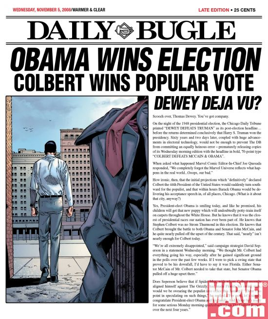 Colbert_Loses Election Confusion In The Marvel Universe
