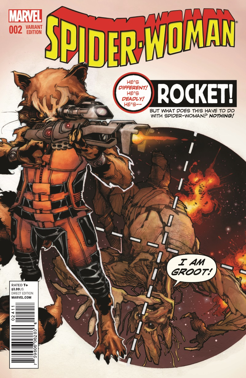 Spider-Woman_2_Bianchi_RRG_Variant SPIDER-WOMAN #2 earns a ROCKET RACCOON AND GROOT variant