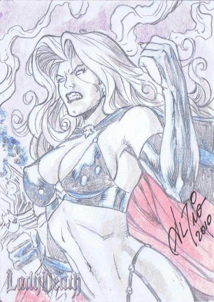 rioLD 5FINITY offers 80 LADY DEATH sketch cards for Hero Initiative