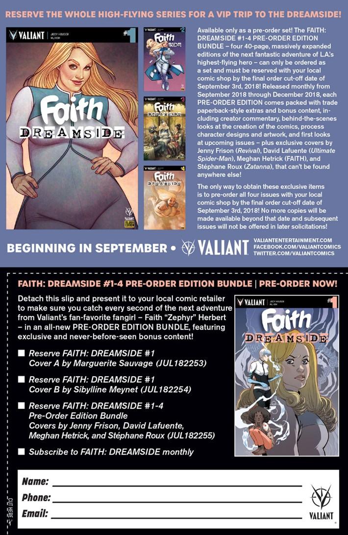 FAITH_DS_PRE-ORDER_COUPON First Look at Valiant Entertainment's FAITH DREAMSIDE #1