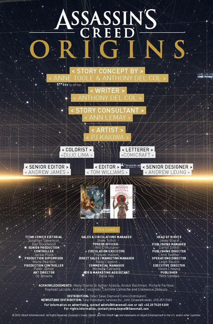 Assassins_Creed_Origins_4_lowres_Page_credits ComicList Previews: ASSASSIN'S CREED ORIGINS #4
