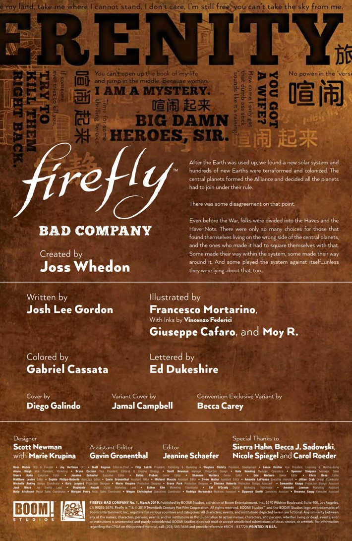 Firefly_BadCompany_001_PRESS_2 ComicList Previews: FIREFLY BAD COMPANY #1