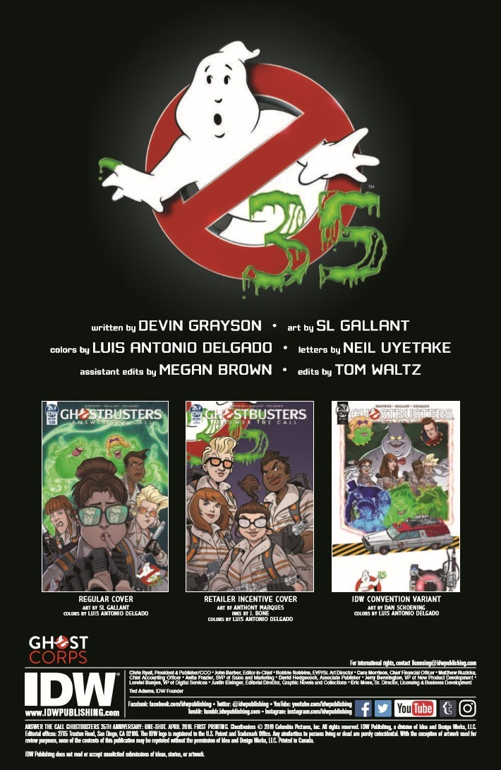 Ghostbusters_35th_Anniversary_Answer_The_Call-pr-2 ComicList Previews: GHOSTBUSTERS 35TH ANNIVERSARY ANSWER THE CALL GHOSTBUSTERS #1