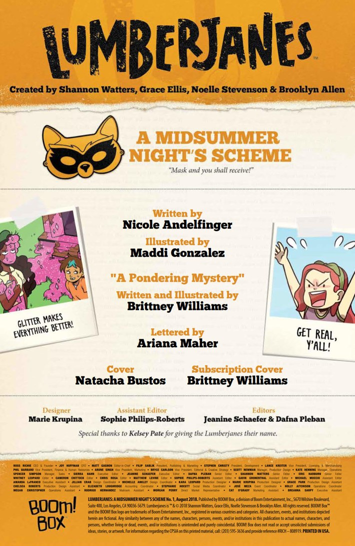Lumberjanes_2018Special_PRESS_2 ComicList Previews: LUMBERJANES A MIDSUMMER NIGHT'S SCHEME #1