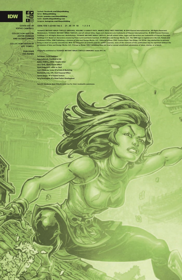 TMNTUniverse_v3-pr-2 ComicList Previews: TEENAGE MUTANT NINJA TURTLES UNIVERSE VOLUME 3 KARAI'S PATH TP