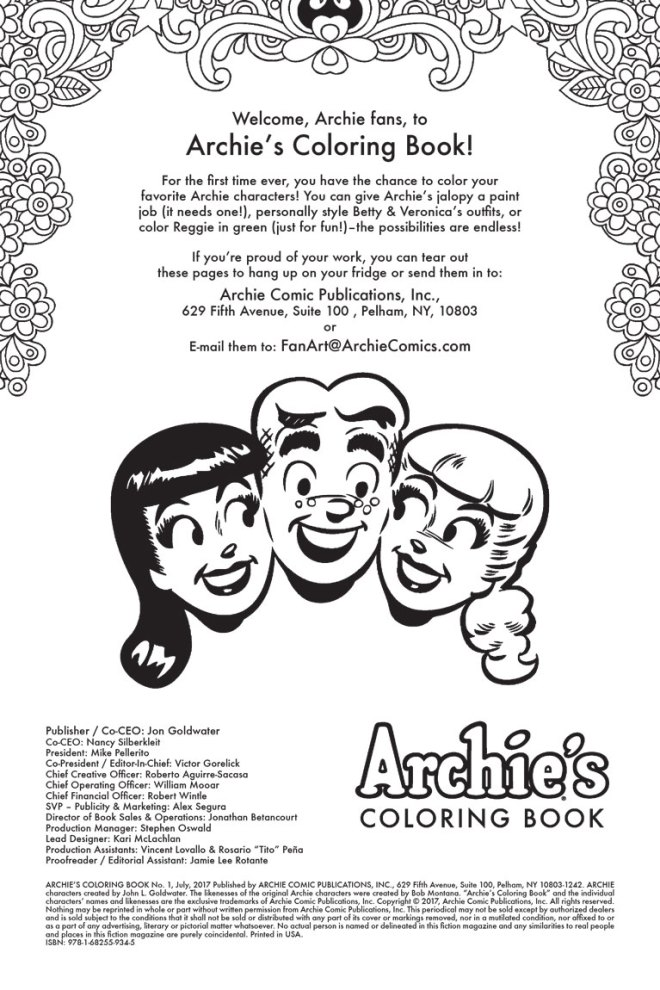Classic Fun In Riverdale Archie S Coloring Book 1 Is Out This