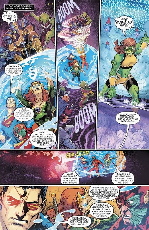 Aquaman/Justice League: Drowned Earth #1 art by Francis Manapul and letterer Tom Napolitano