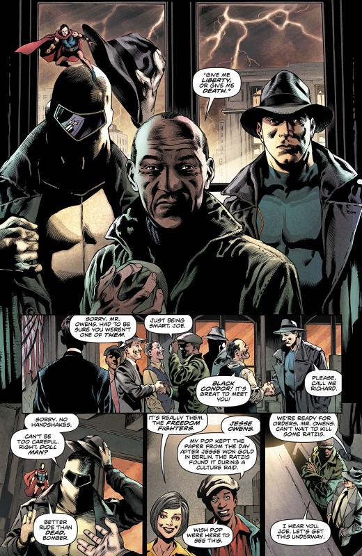 Freedom Fighters #1 art by Eddy Barrows, Eber Ferreira, Adriano Lucas, and letterer Deron Bennett