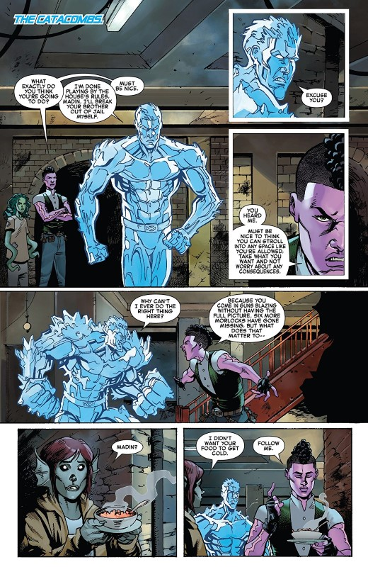 Iceman #4 art by Nathan Stockman, Federico Blee, Ulises Arreola, and letterer VC's Joe Sabino