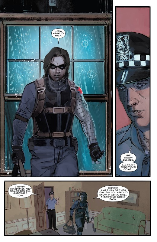 The Winter Soldier #1 art by Rod Reis and letterer VC's Clayton Cowles