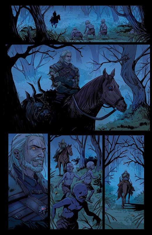 The Witcher: Of Flesh and Flame #1 art by Marianna Strychowska, Lauren Affe, and letterer Steve Dutro