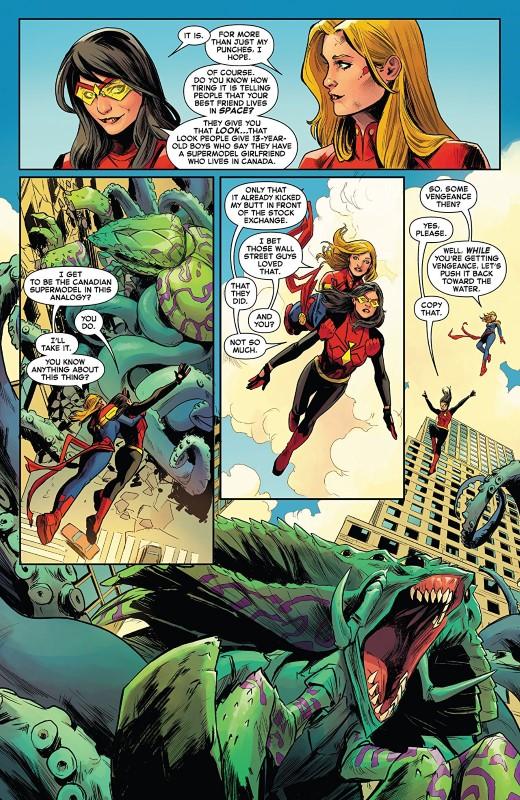 Captain Marvel #1 art by Carmen Carnero, Tamra Bonvillain, and letterer VC's Clayton Cowles