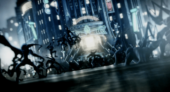 The Dual Wielding Unknown (later confirmed to be Roxas) battles a horde of Neoshadow Heartless in front of Memory's Skyscraper in Another Side, Another Story [deep dive]