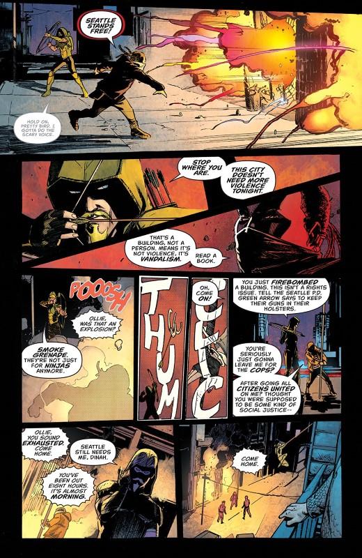 Green Arrow #48 art by Javier Fernandez, John Kalisz, and letterer Deron Bennett