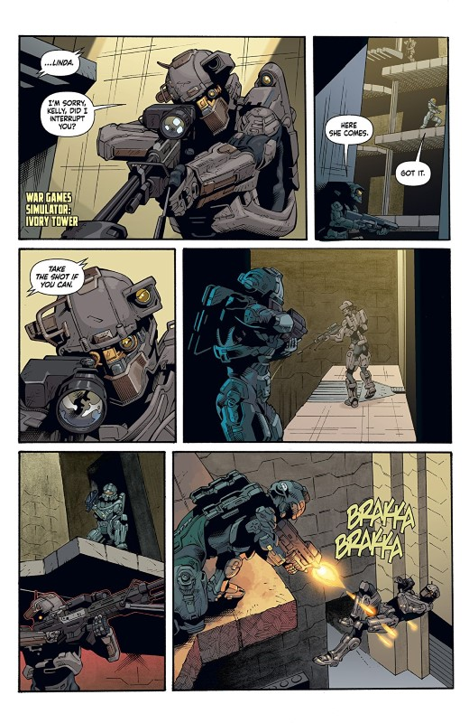 Halo: Lone Wolf #1 art by Kieran McKeown, JL Straw, Dan Jackson, and letterer Simon Bowland