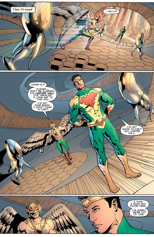 Hawkman #8 art by Bryan Hitch, Andrew Currie, Andy Owens, Jeremiah Skipper, and letterers Richard Starkings and Comicraft