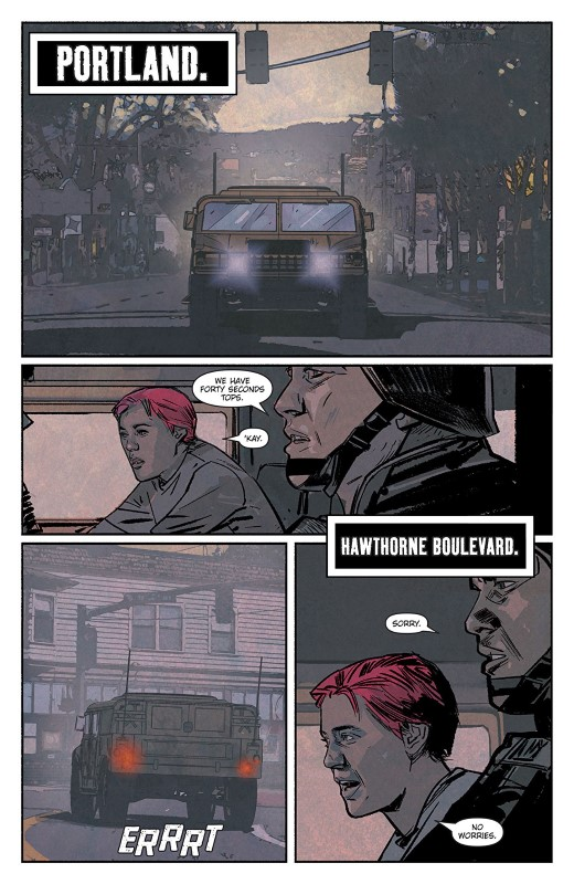 Scarlet #5 art by Alex Maleev and letterer Josh Reed