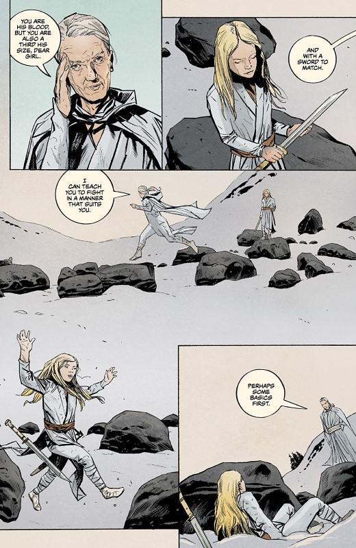 Sword Daughter #5 art by Mack Chater, Jose Villarrubia, and letterer Nate Piekos of Blambot