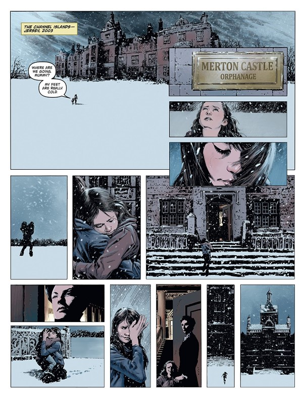 Amber Blake #1 art by Butch Guice and letterers Christa Miesner and Robbie Robbins