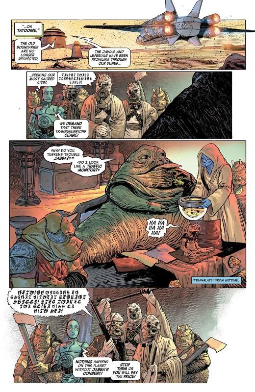 Star Wars Age of Rebellion: Jabba the Hutt #1 art by Emilio Laiso, Roland Boschi, Marco Turino, Andres Mossa, Rachelle Rosenberg, Neeraj Menon, and letterer VC's Travis Lanham