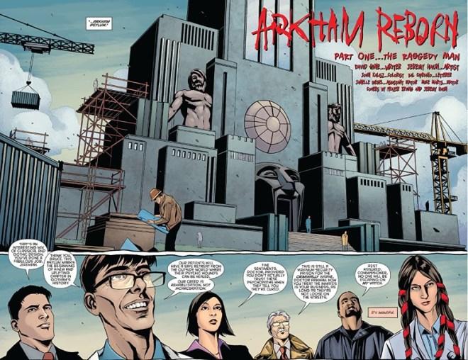 Artwork from Batman: Arkham Reborn #1 by Jeremy Haun, John Kalisz, and letterer Sal Cipriano