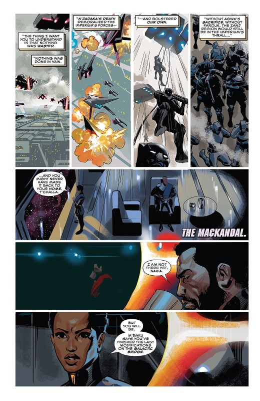 Black Panther #15 art by Daniel Acuña and letterer VC's Joe Sabino