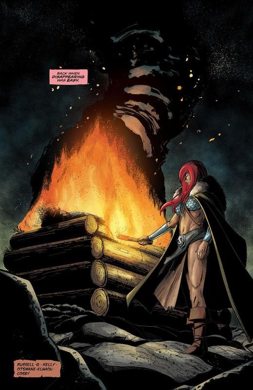 Red Sonja #7 art by Bob Q, Dearbhla Kelly, and letterer Hassan Otsmane-Elhaou
