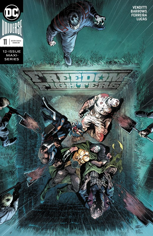 Freedom Fighters #11 cover by Eddy Barrows, Eber Ferreira, and Adriano Lucas